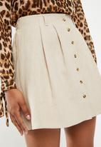 Superbalist - Button through mini skirt - neutral
