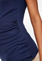 edit Maternity - Contrast gauged top - navy