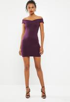 Superbalist - Wrap front bodycon dress with strap detail - burgundy