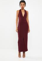Superbalist - Low cut halter neck dress with slit detail - burgundy