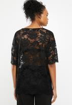 Jacqueline de Yong - Juan short sleeve lace top - black