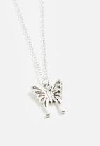 Jewels and Lace - Butterfly necklace - silver
