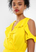ONLY - Mira frill maxi dress - yellow