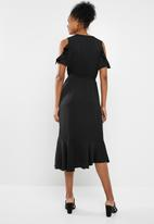 ONLY - Mira short sleeve frill maxi dress - black