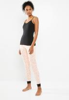 New Look - Unicorn jogger pyjama set - black & pink