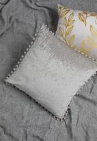 Sixth Floor - Chenille pom pom cushion cover - grey