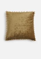 Sixth Floor - Chenille pom pom cushion cover - brown