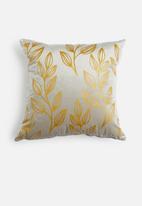 Sixth Floor - Vines velvet cushion cover - grey & gold