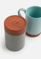 Urchin Art - Element mug set of 2 - blue/grey