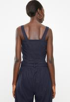 Superbalist - Woven boxy button front cami - navy