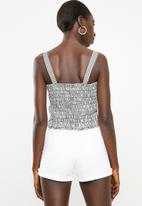 Superbalist - Button through cami top - black & white