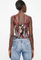 Superbalist - Button through cami top - black floral