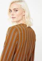 Missguided - Stripe drape plunge flare sleeve bodysuit - bronze