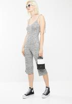 Missguided - Grey tie strappy rib culotte jumpsuit - grey