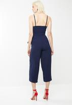 Missguided - Tie side culotte jumpsuit - navy