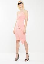 Missguided - Bandeau origami midi dress - pink