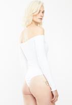 Missguided - Lettuce hem bodysuit - white