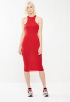 Missguided - Sleeveless rib midi dress - red