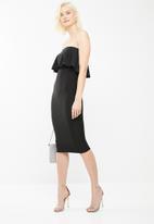 Missguided - Bandeau frill midi dress - black