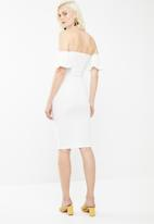 Missguided - Stretch crepe bardot cut out tie front - white