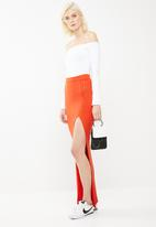 Missguided - Ribbed slit front maxi skirt - orange