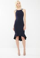 Missguided - Bridesmaid strap detail fishtail midi - navy