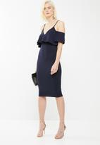 Missguided - Frill cold shoulder midi dress - navy