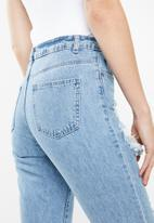 Missguided - Riot high rise split rip mom jean - blue