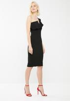 Missguided - One shoulder frill midi dress - black