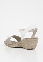 Phelan - Ankle strap leather wedge - silver