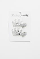 POP CANDY - Crown detailed hair clips - silver