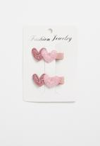 POP CANDY - Heart detailed clips -pink