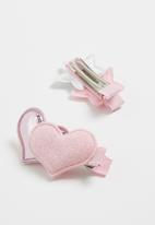 POP CANDY - Metalic detail hairclip -  pink & silver