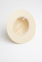 edit - Fedora with 2-tone ribbon trim - cream