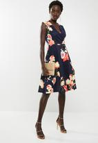 edit - Wrap front fit and flare dress - navy floral