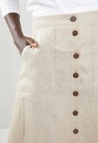 edit - Linen look button down skirt - beige