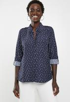 edit - Long sleeve button down shirt - navy