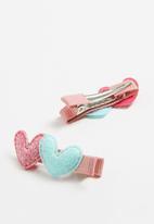 POP CANDY - Heart detail clips  - pink & blue