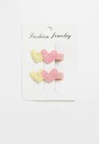 POP CANDY - Heart detail hair clip - yellow & pink