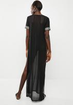 Missguided - Greek short sleeve mesh dress - black