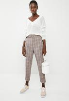 Missguided - Check belted cigarette trouser - brown