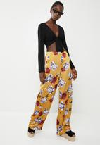 Missguided - Floral wide leg trousers - yellow