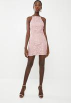 Missguided - Lace square neck bodycon dress - pink