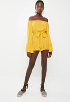 Missguided - Bardot playsuit - yellow