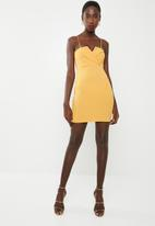 Missguided - Fold over strappy bodycon dress - yellow