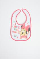 Character Baby - Minnie Mouse jersey bib - pink & white