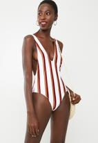 Missguided - Multi stripe ultimate plunge swimsuit - multi