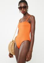 Missguided - Rib square neck high leg swimsuit - orange