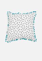 Sixth Floor - Adison kids cushion cover - black & turquoise