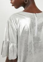ONLY - Celine short sleeve faux suede frill top - silver